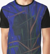 """The Night"", woman silhouette in the grass, ultramarine starry sky Graphic T-Shirt"
