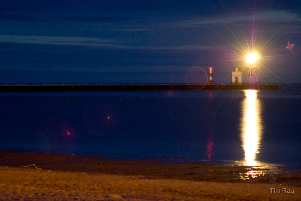 Lighthouse at Night 1 by Tim Ray