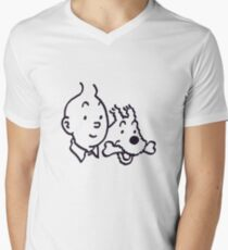 Tintin And Milou Merchandise Men's V-Neck T-Shirt