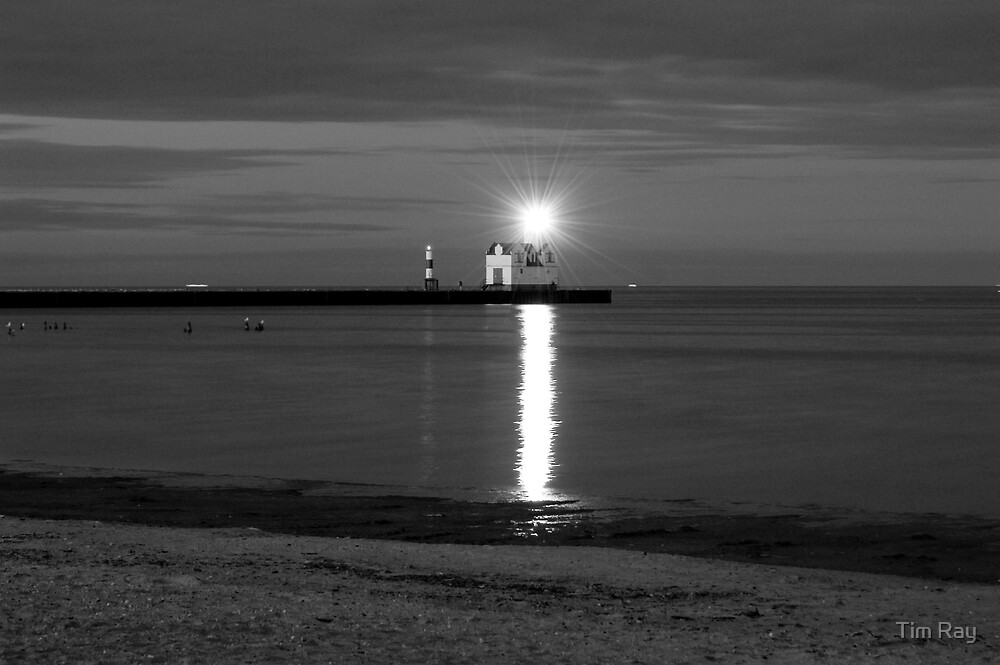 Lighthouse at Night BW by Tim Ray