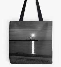 Lighthouse at Night BW Tote Bag