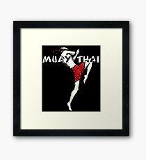 Muay Thai Flying Knee Shirt Framed Print