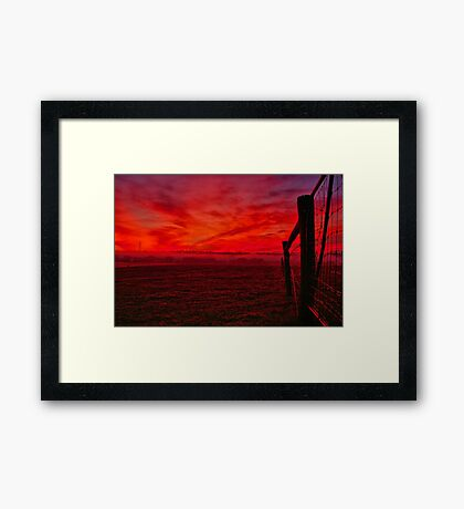 """Red Dawn at Shelford"" Framed Print"