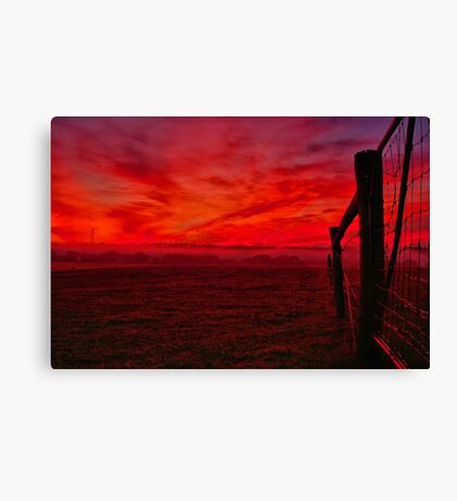 """Red Dawn at Shelford"" Canvas Print"