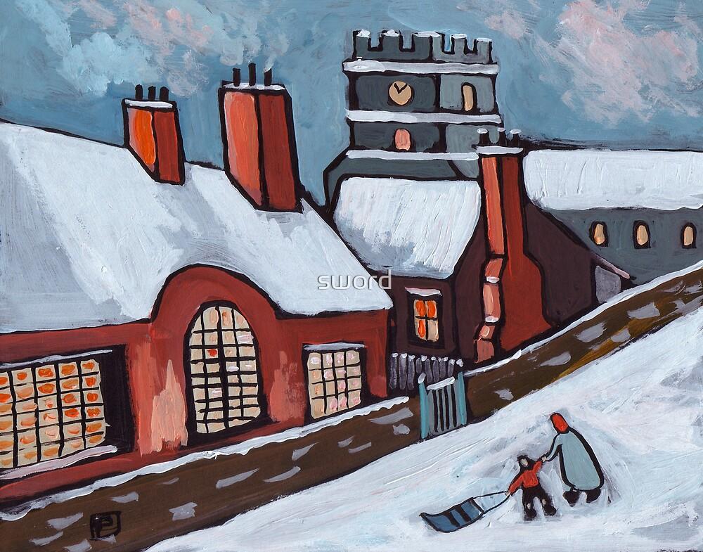 English village snowscene by sword