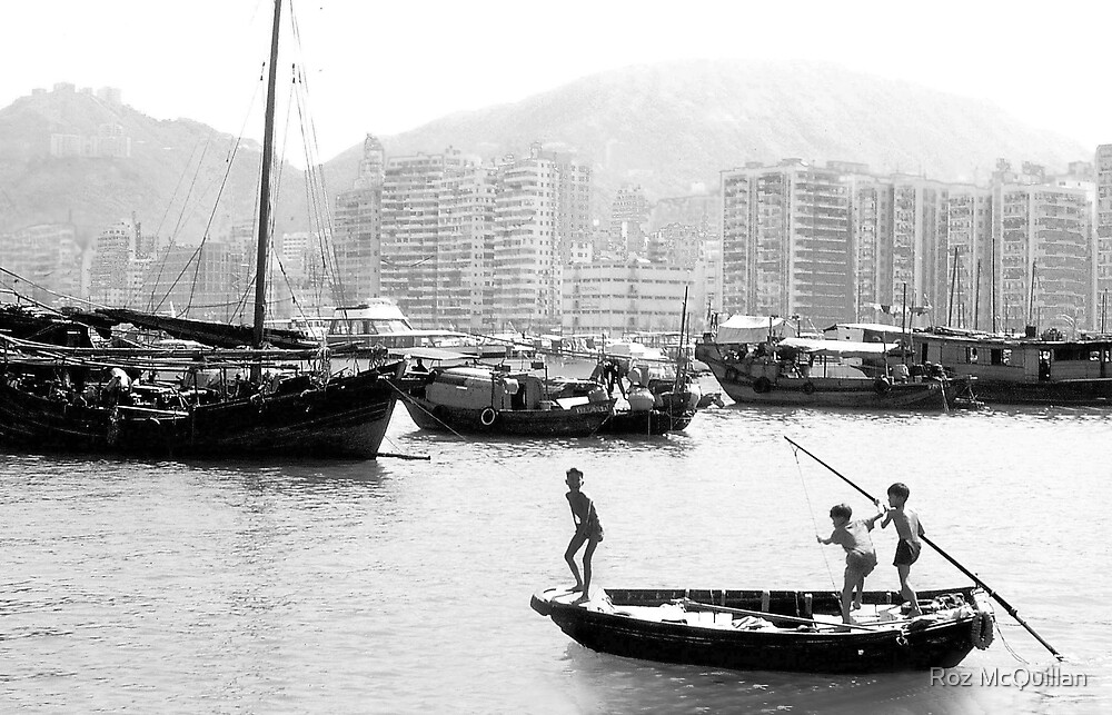 Children fishing in Hong Kong Harbour by Roz McQuillan