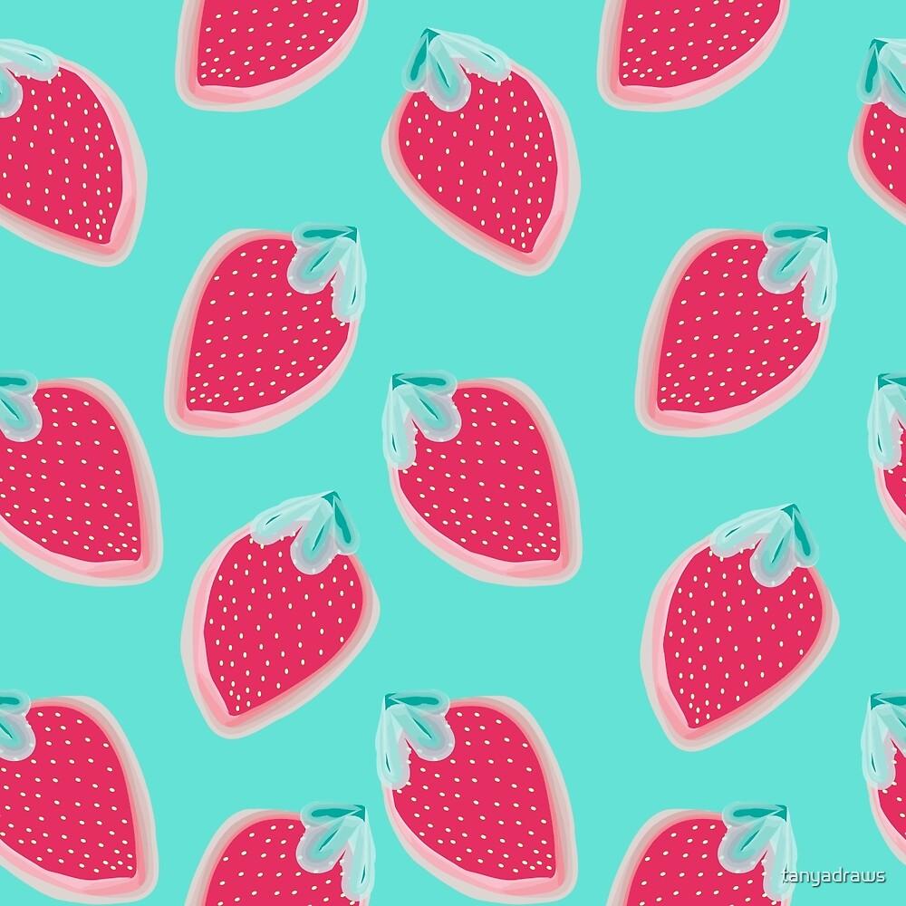 Strawberries Fruit Pattern by tanyadraws