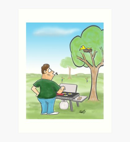 Barbecue Cartoon  Art Print