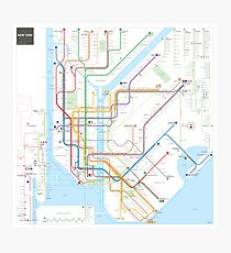 New York City subway map Photographic Print