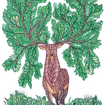 Forest Antler Zentangle Stag by TemplemanArt