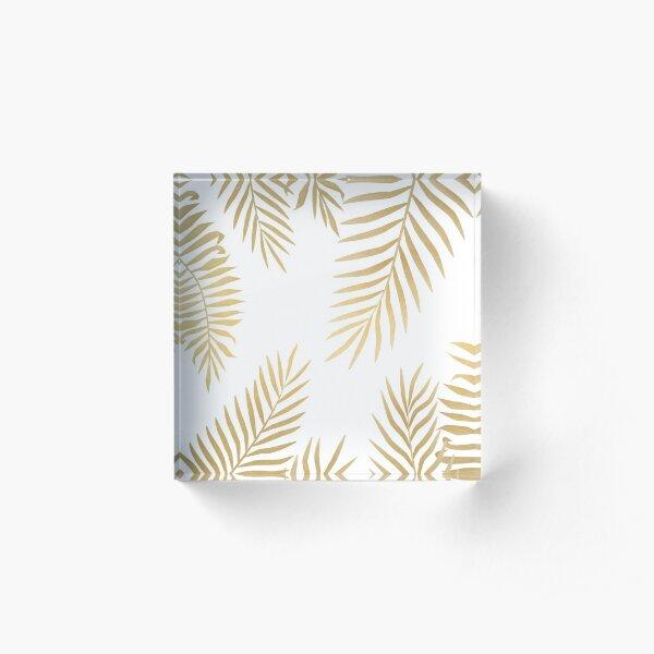 Gold palm leaves Acrylic Block
