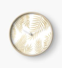 Gold palm leaves Clock