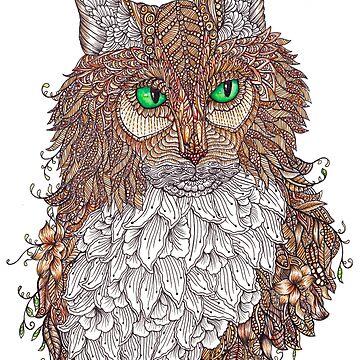 Zentangle Art Norwegian Forest Cat by TemplemanArt