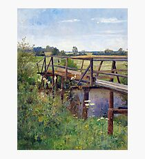 Hugo Darnaut Summer Landscape with Bridge Photographic Print