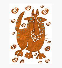 Primitive Art Cat III copper red Photographic Print