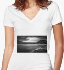 Cloud phoenix Black and White Women's Fitted V-Neck T-Shirt