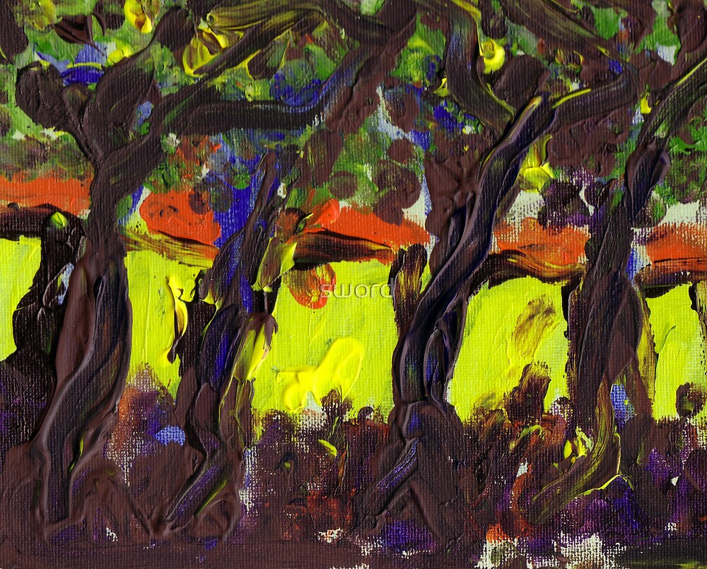 Sunshine and trees Finger painting by sword