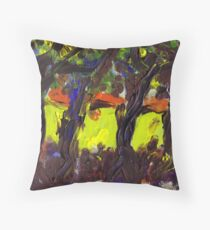 Sunshine and trees Finger painting Throw Pillow