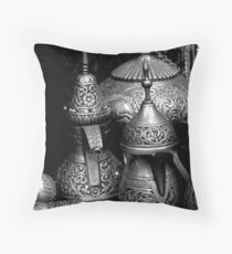 Silver Coffee Pots Throw Pillow