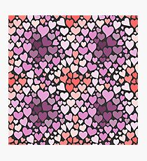 Abstract lilac hearts pattern Photographic Print