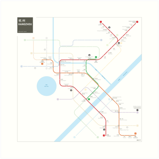 Hangzhou Metro Map Art Prints by Jug Cerovic Redbubble