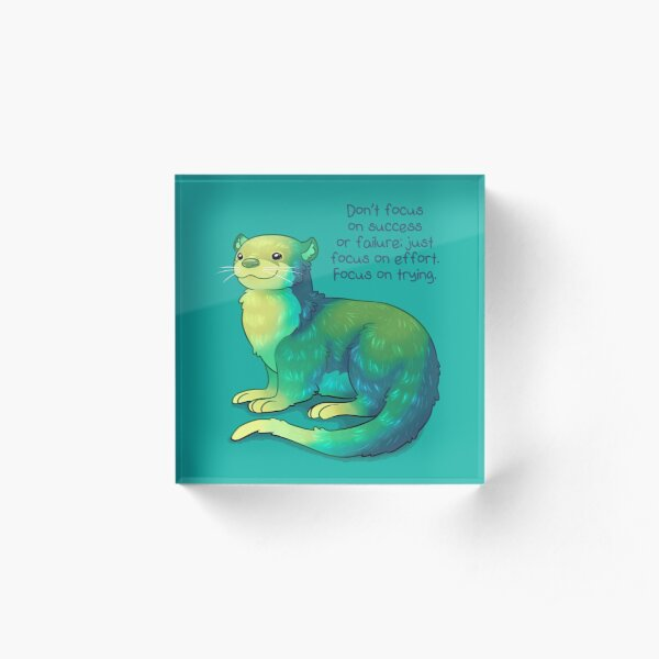 """Focus on Trying"" River Otter Acrylic Block"