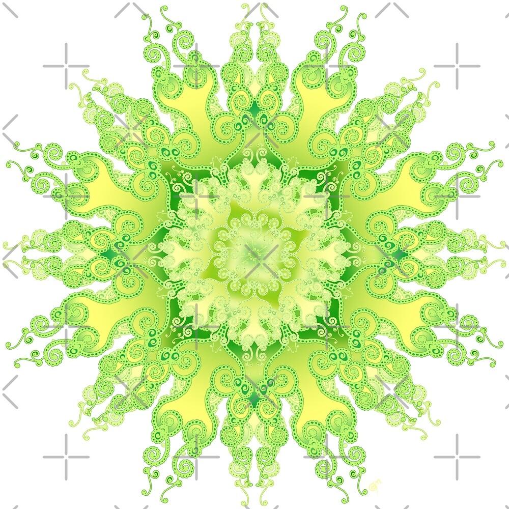 Curly-Mandala in fresh lemon & green by pearlposition