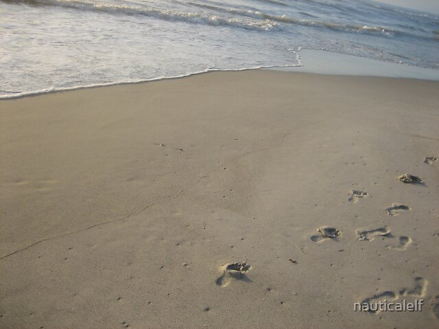 Footprints in the sand by nauticalelf