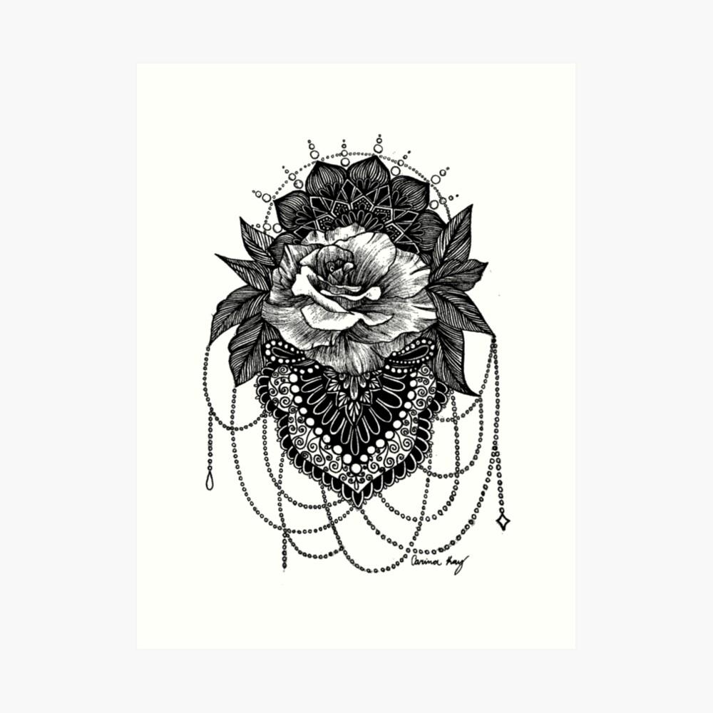 Rosen-Mandala Kunstdruck