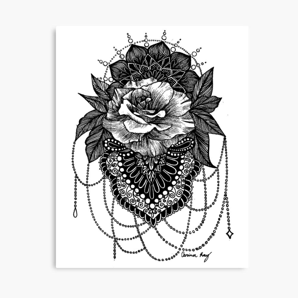 Rosen-Mandala Leinwanddruck