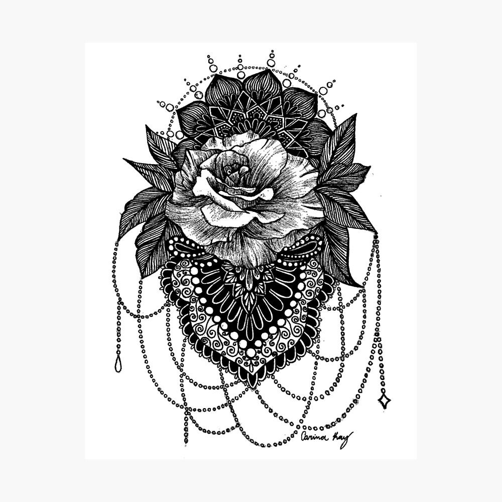 Rosen-Mandala Fotodruck