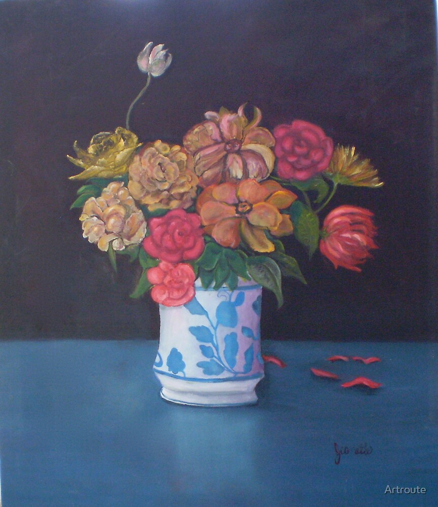 Floral in Blue Vase by Artroute