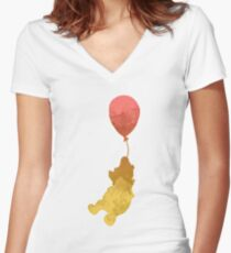 Bear and balloon Inspired Silhouette Women's Fitted V-Neck T-Shirt