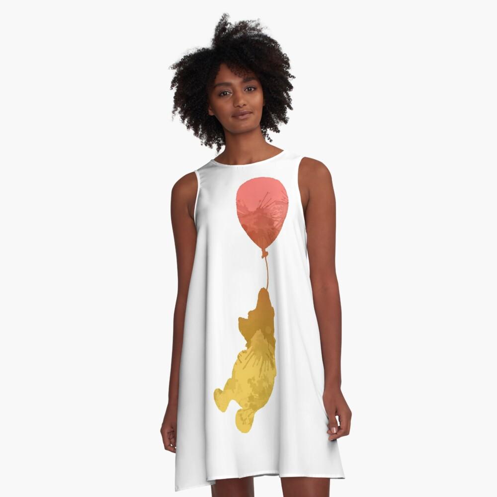 Bär und Ballon inspirierte Silhouette A-Linien Kleid
