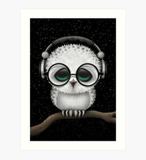 Baby Owl Dj with Headphones and Glasses Art Print