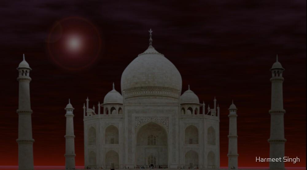 Taj in Full Moon Night by Harmeet Singh