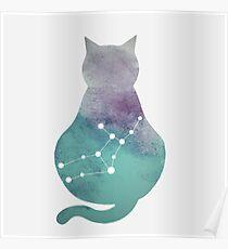 Virgo Constellation Cat Poster