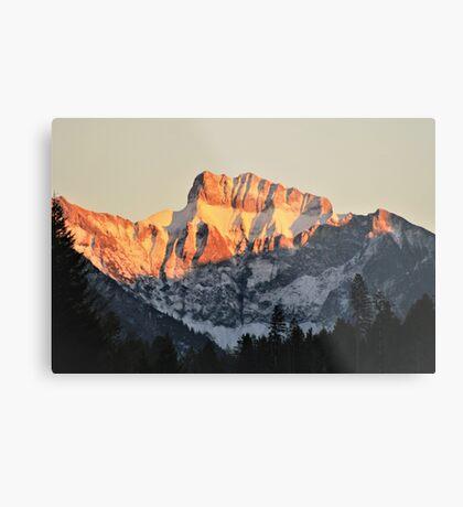 Golden Mountain Top Metal Print