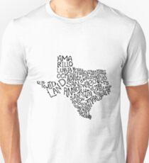 Texas Map Art T-Shirt