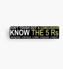 Official USA Rugby Concussion Policy: Know the 5 Rs Canvas Print