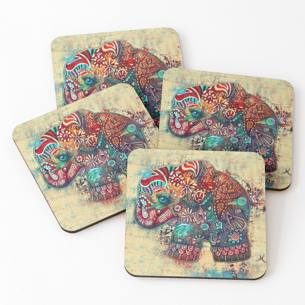 Vintage Elephant Coasters (Set of 4)