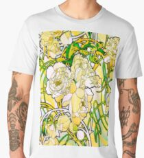 Mucha Peonies, a la Stained Glass HDR Men's Premium T-Shirt
