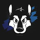Toon wolf face (blue) by licographics