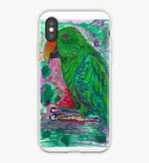 Green Eclectus Parrot Watercolor iPhone Case