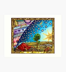 Flammarion Woodcut Flat Earth Design 2017 Art Print