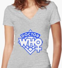 4th Doctor Logo with a Twist Women's Fitted V-Neck T-Shirt