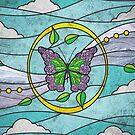 Schmetterlings-Rosen-Faux-Buntglas von christymcnutt