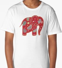 Red embroidered elephant Long T-Shirt