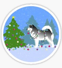 Alaskan Malamute Dog Decorating Christmas Tree in the Forest Sticker