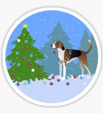 American Foxhound Dog Decorating Christmas Tree in the Forest Sticker